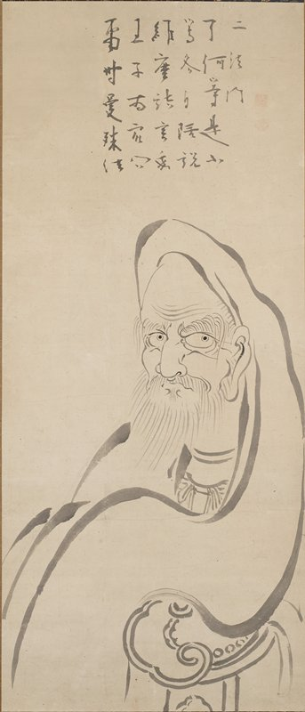 linear portrait of a man with a beard, long eyebrows and large ears, wearing a hood; block of text above