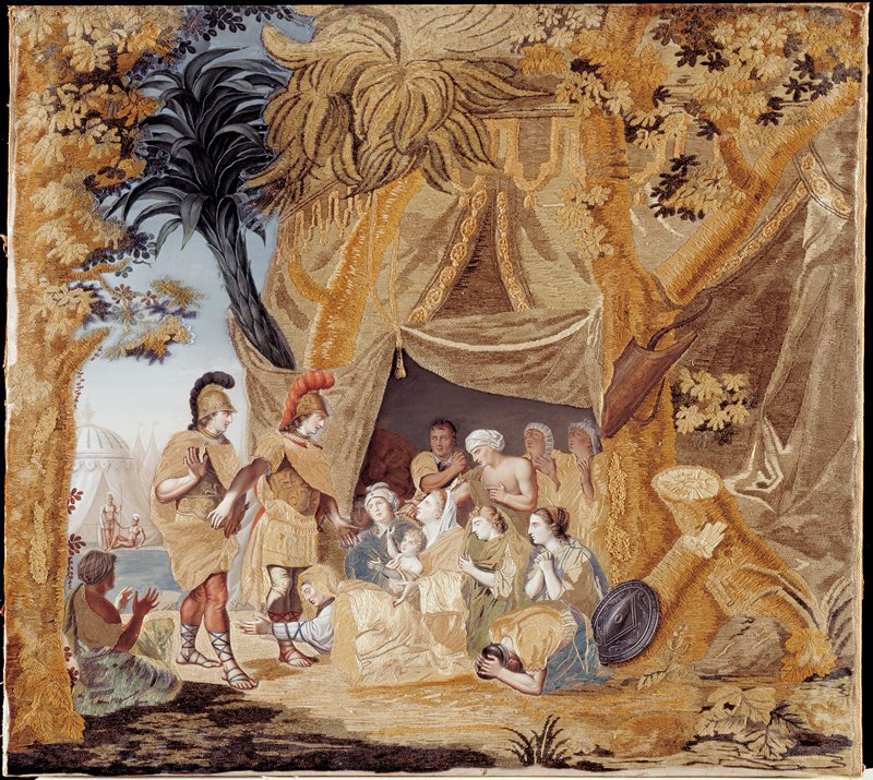 painting and embroidery on fabric; tan and gold tent at R; kneeling, crouching, supplicating figures emerging from tent; 2 soldiers with black and red plumes on their helmets at L