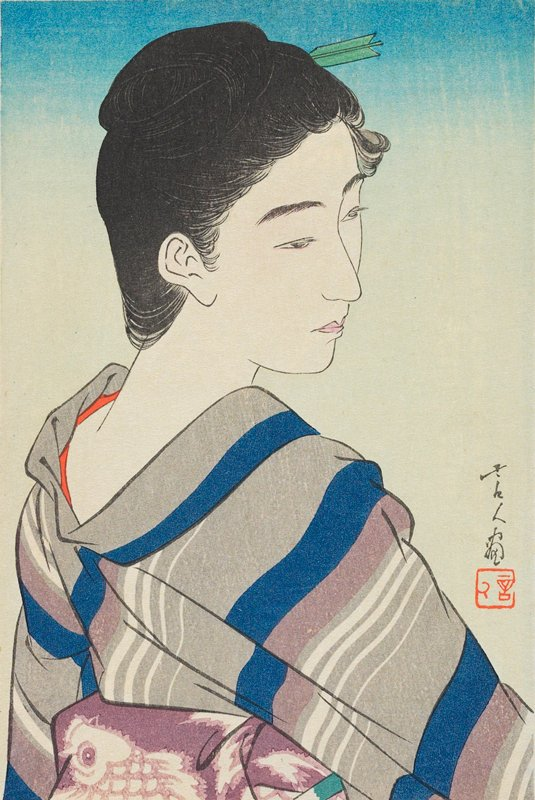 head and shoulders of a woman, looking over her PR shoulder; blue, purple, grey and white kimono; purple and white obi with fish pattern