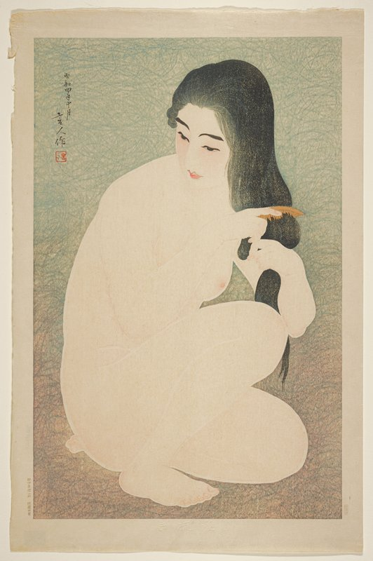 crouching nude woman combing her hair; blue-grey ground
