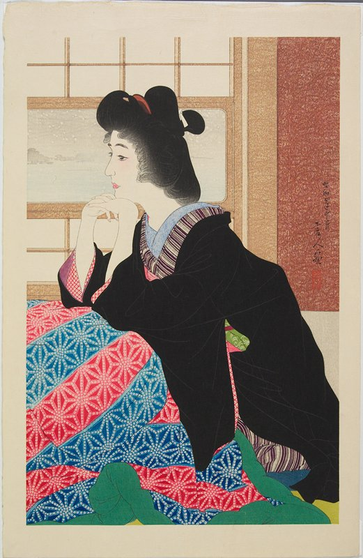 seated woman wearing a black kimono with blue, red and white patterned fabric across her lap; landscape with snow on wall in background