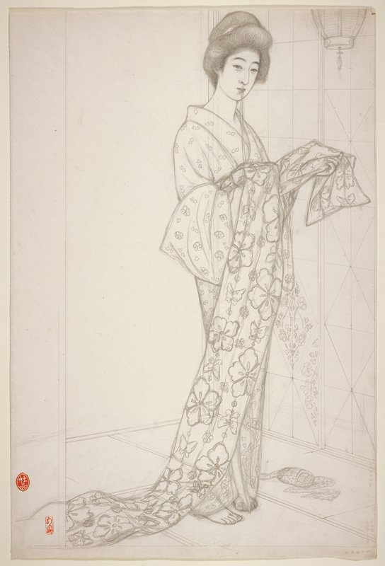 "unsigned; preliminary sketch for the print ""Girl in Summer Kimono""; standing woman wearing a kimono and holding a floral obi, with strings in her mouth; lantern, URC"