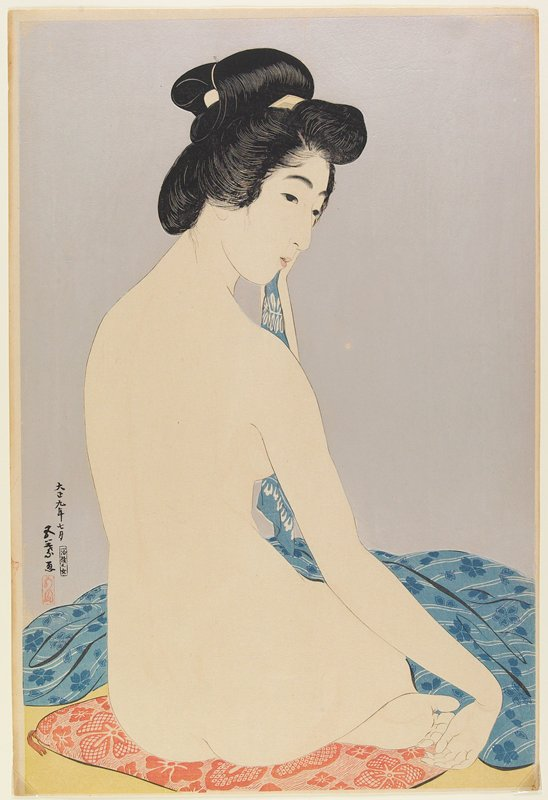 nude seated woman, seen from back, looking over her PR shoulder; blue floral cloth over woman's lap