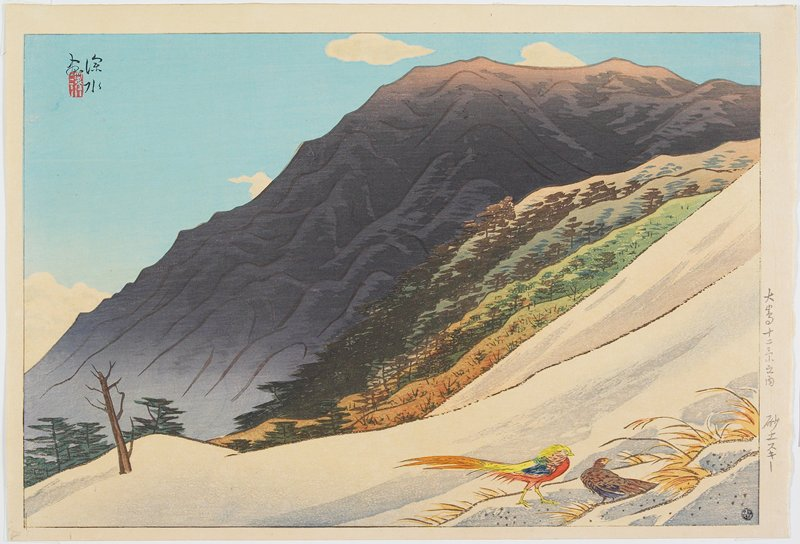 landscape; steep hill and 2 multicolored birds at R; rocky mountain in background; trees on mountain in middle ground
