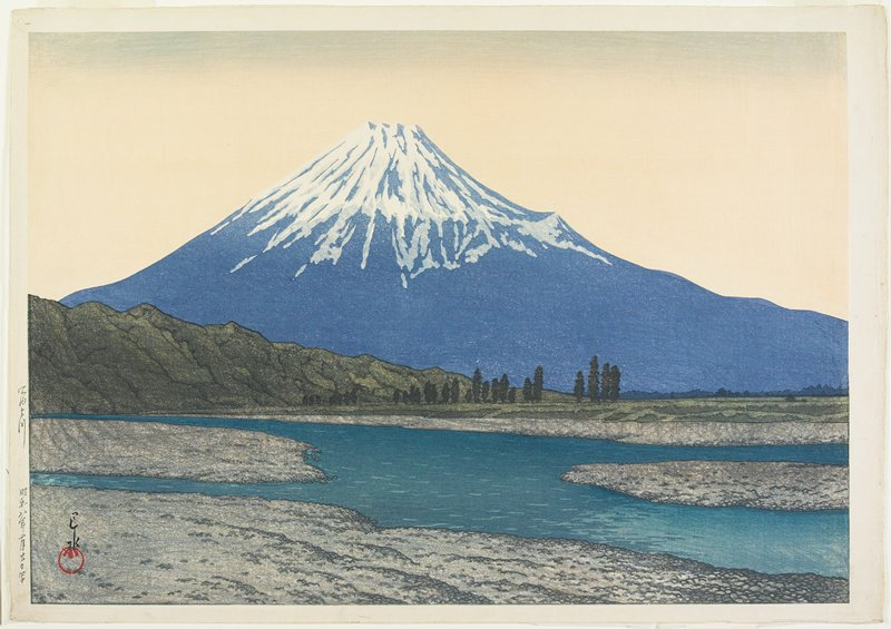 landscape; river in foreground; green mountain in middle ground; snow-capped Mt. Fuji in background