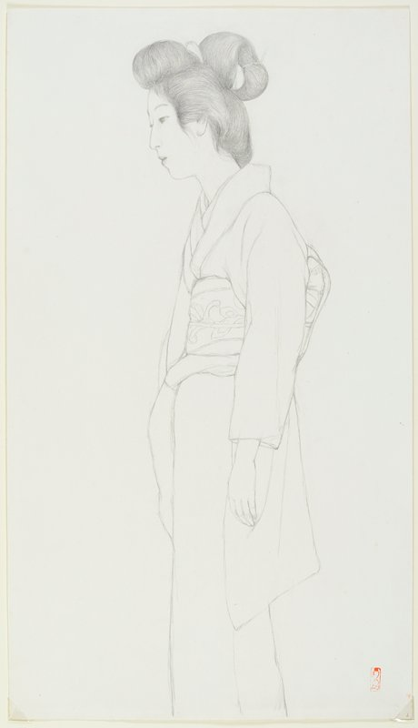 unsigned; standing woman in profile from PL, wearing a kimono and obi with vine pattern; woman looks slightly down