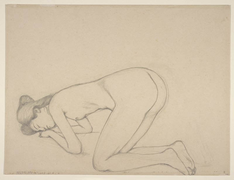 unsigned; 2 sketches of a nude woman on knees with head resting in hands