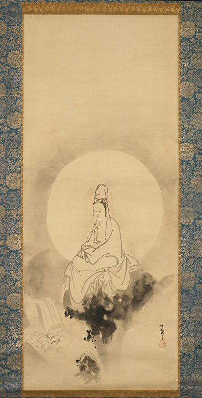 figure wearing a white robe, seated on an abstract, blossom-like throne; circular light area behind figure; waterfall, LLC