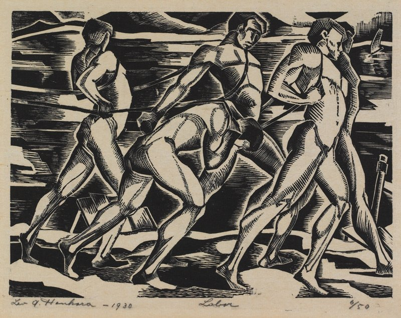 five straining nude men, pulling on cords; mountains at top edge