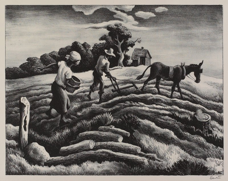Man behind a plow pulled by a burro at center; woman with a bucket, sowing seeds behind man; small house in background at center, with trees at left