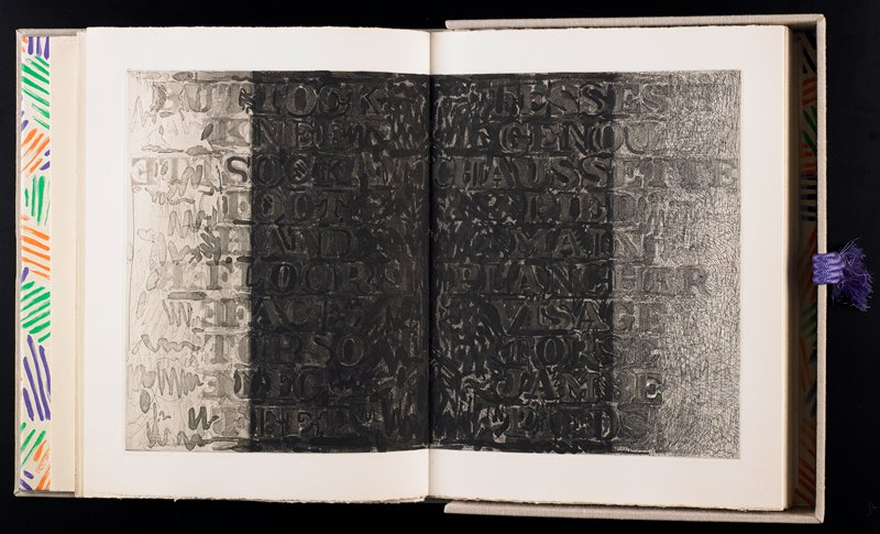 """A book of five texts by Samuel Beckett and 33 etchings by Jasper Johns; binding: linen covered binder with liner of """"Hatching"""" lithograph, printed in four colors with purple tassle; type: Caslon Old-Face 16 pt.; hand-printed by Fequet & Baudier, Paris"""