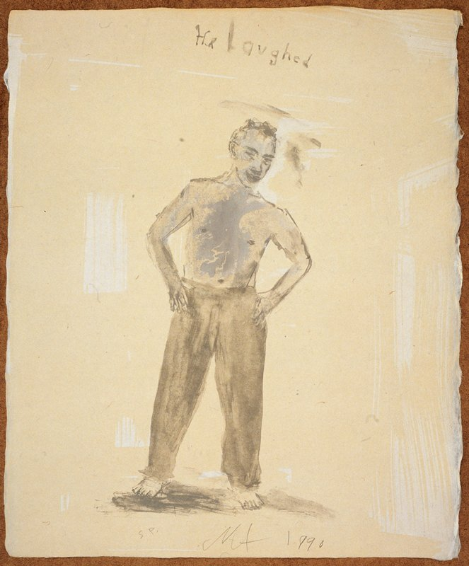 """Full length portrait of a man in long pants, naked from the waist up; he stands facing the viewer with his hands on his hips; the words """"He laughed"""" inscribed, UC; predominant colors: blue, grey and yellow"""