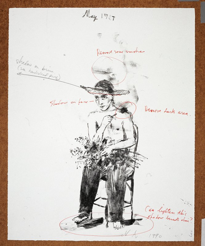 """A man in long pants and no shirt; he faces forward in a chair and holds flowers in his lap; the words """"May 1987"""" inscribed, UC"""