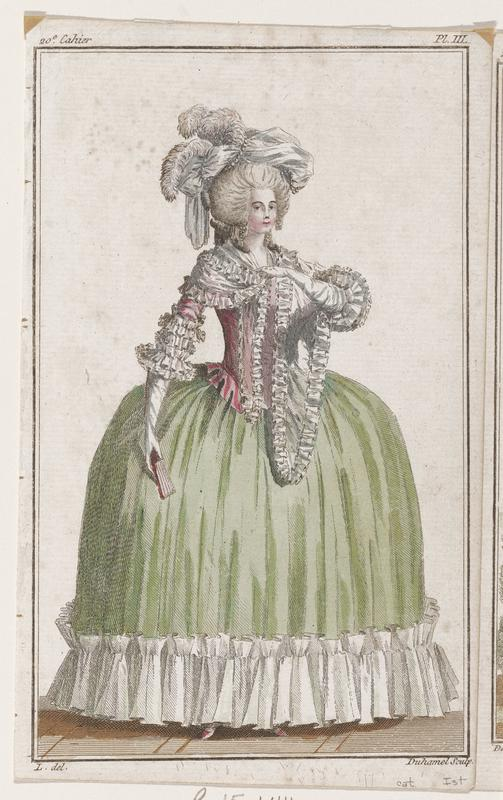 Woman in gown with green skirt with white ruffle at bottom, frilly pink top, white gloves, a pink fan, and a white hat with plumes