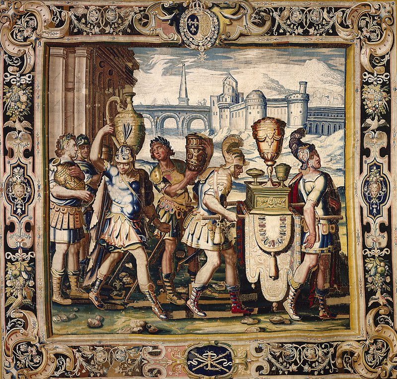 a piece from the Cycle of Tapestries woven for Marie de' Medici, The Stories of Queen Artemisia, based on an epic account by Nicolas Houel; woven in the Faubourg Saint-Marcel manufactory of Marc de Comaus and Frauçois de la Planche between 1611 and 1627; warp undyed wool, 7-8½ ends per cm., weft dyed wool and silk, 28-36 ends per cm.