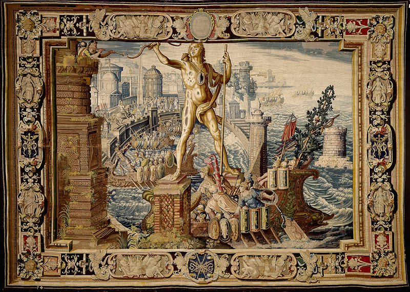 A piece for the tapestry cycle woven for Marie de' Medici, The Stories of Queen Artemisia, based on an epic account by Nicolas Houel; woven in the Faubourg Saint-Marcel manufactory of Marc de Comans and François de la Planche; warp undyed wool,6½-7½ ends per cm., weft dyed wool and silk, silver and silver-gilt yarns, 26-64 ends per cm.