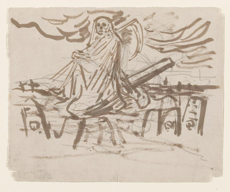 seated figure of Grim Reaper with sicle, with headstone at corners; dark clouds in sky