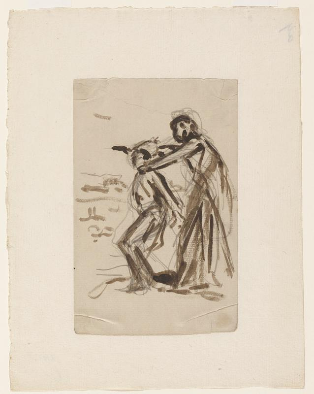 standing figure with bent knees being held by the neck from behind by a tall robed figure with a gun; mounted to another sheet