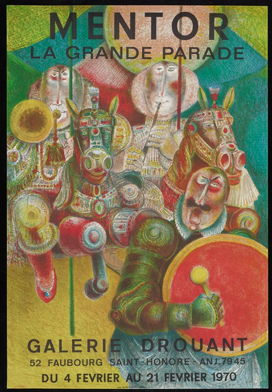"""musicians playing instruments on horse carousel; Original poster for the exhibtion """"Mentor: La Grande Parade"""" Galerie Drouant, Paris, February 4-21, 1970, featuring the work of Blasco Mentor"""