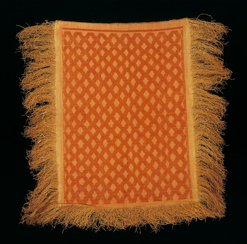 panel with three sides which have fringe; pile design, criss-cross pattern at angles, full border around design at two adjoining sides, third longer side has thin partial border; reddish coloring in central field, cinnabar. Surface ornamentation (Dyed)