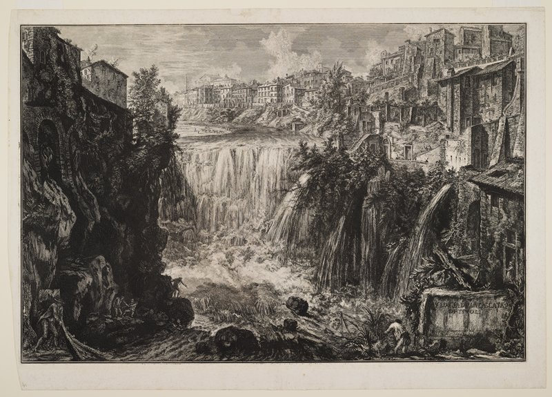 view of waterfall with figures and rocky terrain in foreground; city at top; animals on beach, ULQ