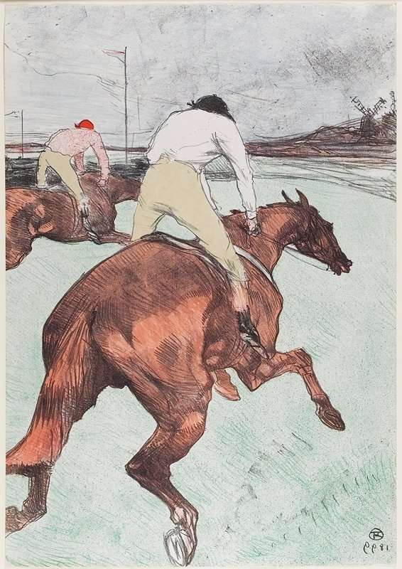 two red-brown horses in full gallop, seen from back PR side; foreground horse ridden by figure in tan pants, white shirt and black hat; horse at L ridden by figure in tan pants, pink shirt and red hat; windmill at R