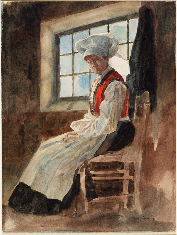young woman in profile with head turned to PL, seated in a side chair; woman wears long brown skirt, white apron and blouse, starched white bonnet, and orange and brown vest; window behind woman's head
