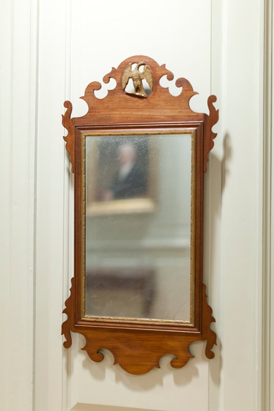 mirror with gilt eagle cresting, of type known as a Constitution Mirror c.1760