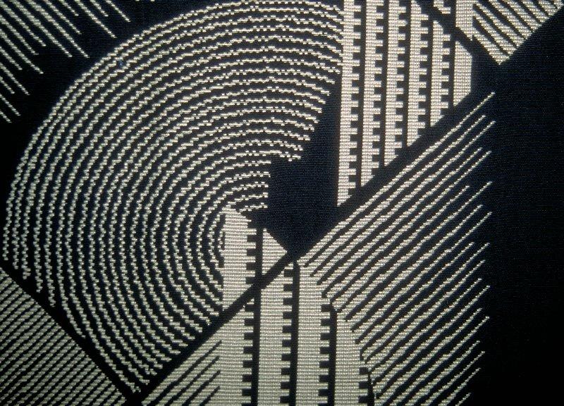 "Art deco gemetric with diagonal & vertical lines and half circles. Vert. Rpt. 13', Hor. Rpt 13 3/4"" Black & White Keyboard"