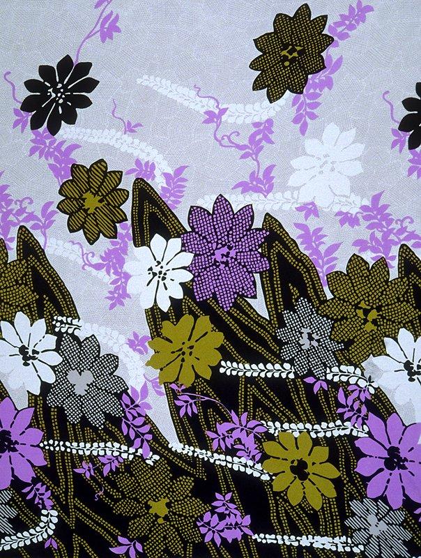 Knit border print;larger stylized flowers. Heavier along bottom edge. Knit Border Print.Large stylized flowers, heavier along bottom edge. (purple Black)