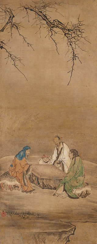 One of three panels mounted as a triptych of kakemono; ink and slight color on paper; unsigned