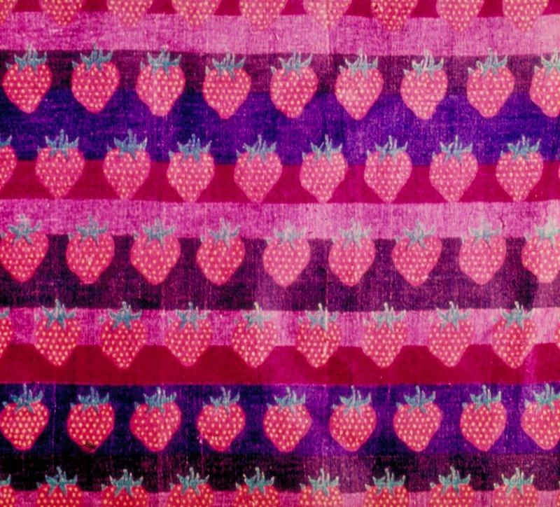 "Heavy silk handwoven & handpainted. Horiz. Rows of strawberries on stripes. Vert. Rpt. 18"". Red on stripes of magenta, mauve, gray, blue. Vermillion On Purple"
