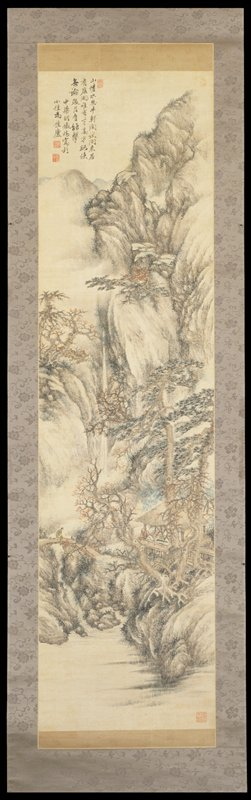 water, foreground leads to a cholar crossing a bridge by a pavilion within which another scholar sits; pavilion surrounded by pine trees and bare leafed twisted trees; misty mountain towers over with waterfall and stream