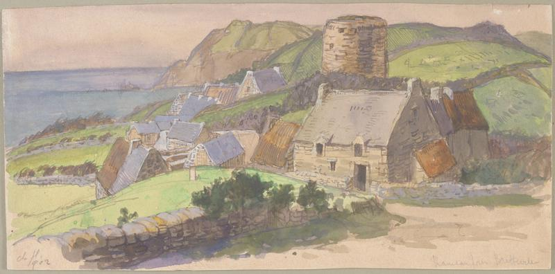 Small farmhouse in foreground, other buildings clustered behind and to the left, shoreline with mountain in background