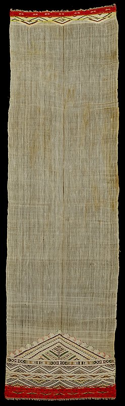 rectangular panel, central body white and unadorned; supplimentary weft patterning of red bands at each end, additional band of diamonds in purple, green and orange; end with more embroidery has a triange which terminates banding and points into body of towel
