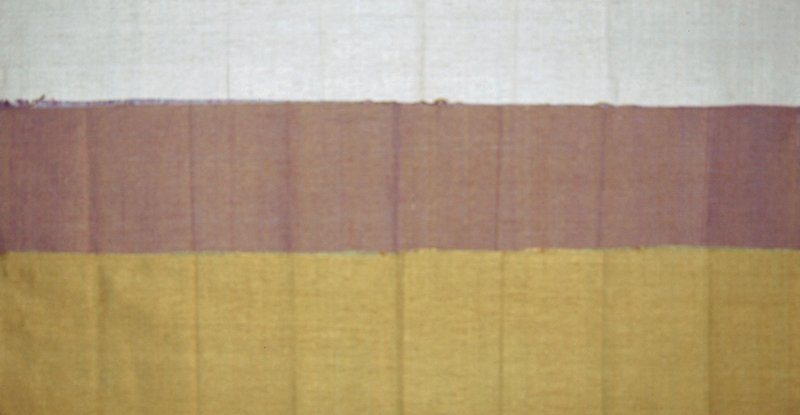 Plain handwoven heavy silk dual. Blue, brown & green. Blue/brown Striae