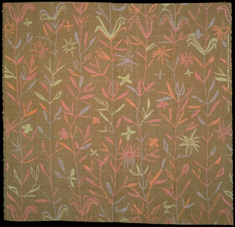 Handwoven warp faced plain weave silk cloth handprinted with bands of pastel leaves and flowers. Pattern resembles crayon drawing. Pink, orange, blue, green. Parfait