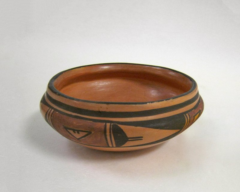 shallow bowl with rounded bottom; orange body; shoulder decorated with band of geometric patterns in brown and red