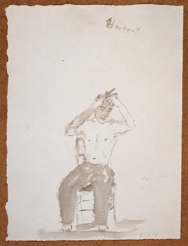 """Full length view of a man naked from the waist up; he sits in a chair facing forward while he cuts his own hair; """"Haircut"""" scrawled in UR quadrant"""