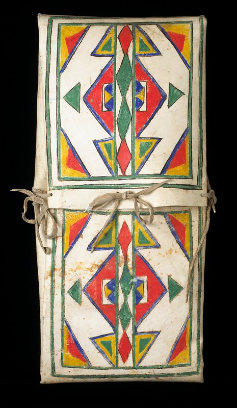 envelope-like case with tie closures; top flaps decorated with geometric triangle motif designs in red, yellow, green and blue
