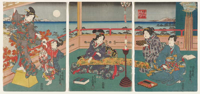 triptych; a (left): little girl at right, wearing a kimono with blue patterning and red field with multicolored flowers, holding a beaded bell with a windchime, decorated with floral motifs; girl hands windchime to woman in a grey kimono with red flowers and green leaves, standing on a yellow stool; b (center): seated woman wearing a purple kimono with blue flowers and green leaves, holding one end of an orange banner with green birds and green and red flowers; candle on tall black and white pedestal at right; c (right): orange banner extends into this panel, with opposite end behind a seated man wearing a blue kimono with stylized orange and blue flowers across the middle; man holds a brush and paper; woman with heavy face behind man, wearing purple and blue striped kimono and holding a black box with yellow flowers; seascape with moon at left behind figures; text at lower right corners of a and c and at bottom center of b