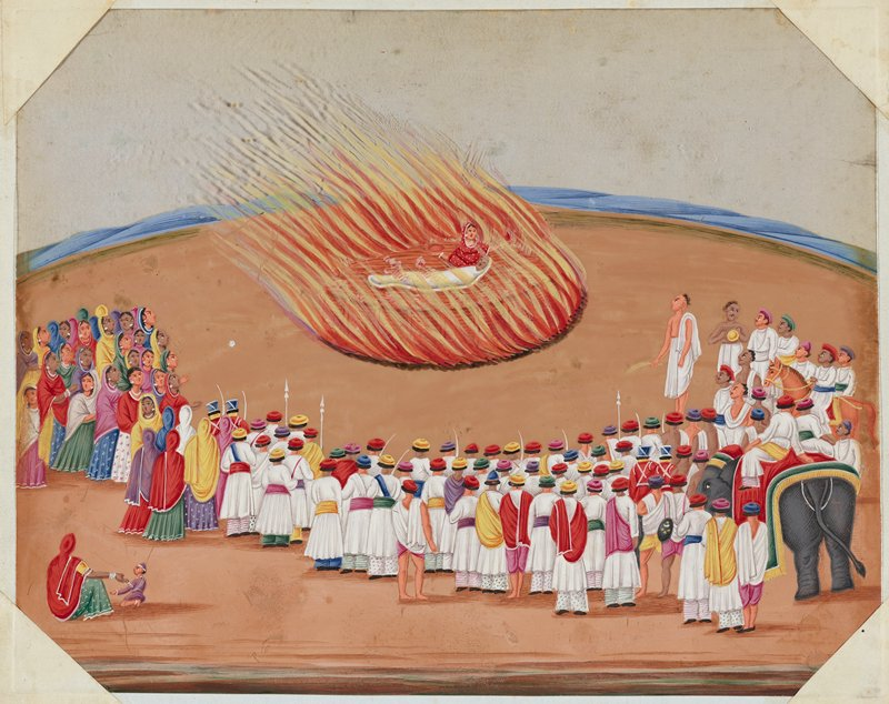 A wife joins her husband on a funeral pyre surrounded by a large processional crowd