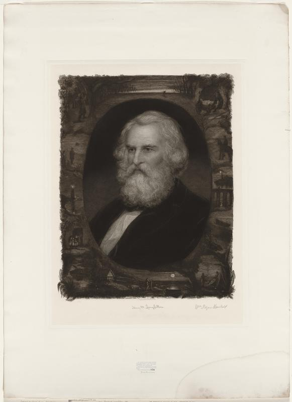 head and shoulders of man in oval inset; various scenes surrounding on all sides