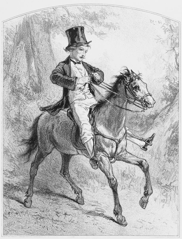 man wearing a top hat, knickers and a bow tie riding a horse