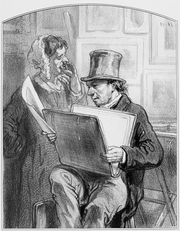 man wearing a top hat, seated with a portfolio on his lap, looking at a sheet held in his PR hand; woman wearing a bonnet, with her PL hand drawn to her mouth, stands behind