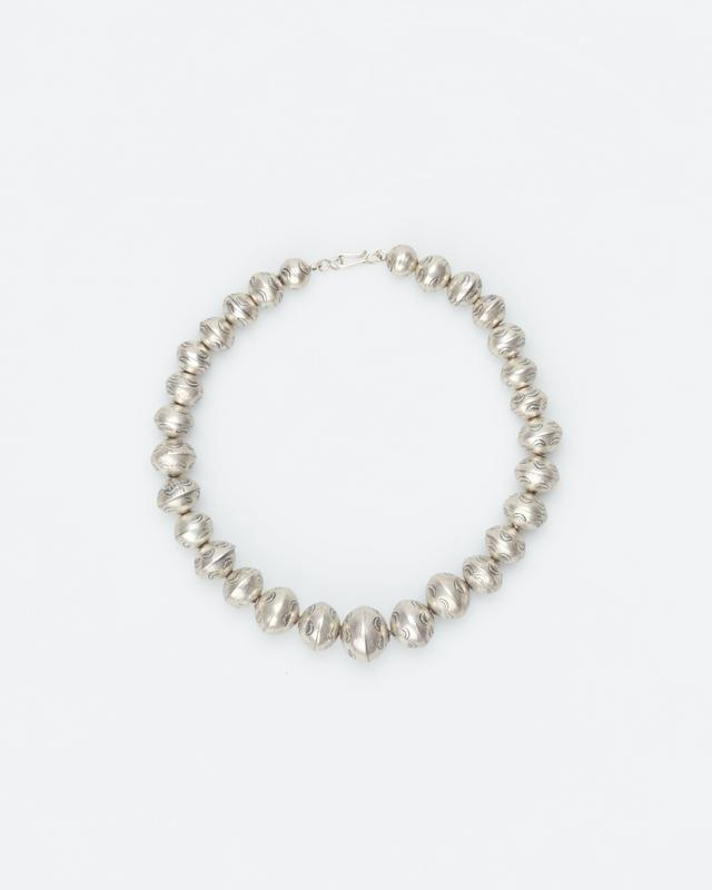 round silver bead choker length necklace; stamped beads