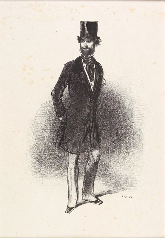 standing man wearing a long coat and a top hat; man has dark beard and dark curly hair