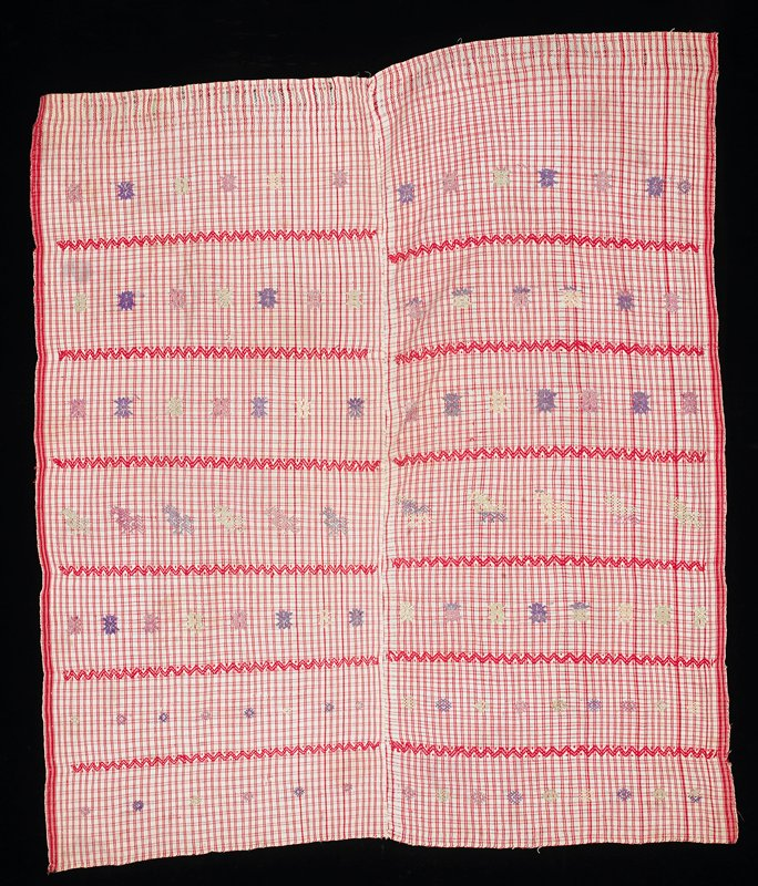 two panels; white and red cotton plaid; rows of decorative elements (supplementary weft patterning)--birds and flowers in white, purple and pink silk