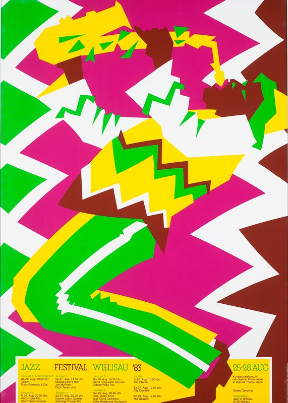 hot pink, yellow, green, maroon and white saxophone player; white metal frame