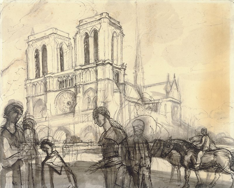 Front facade of Notre Dame Cathedral, with some figures in foreground